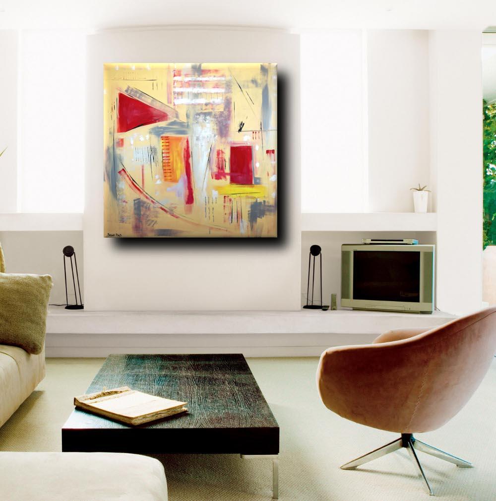 quadri astratti moderni geometrici a23 - quadri astratti dipinti a mano 120x120 giallo
