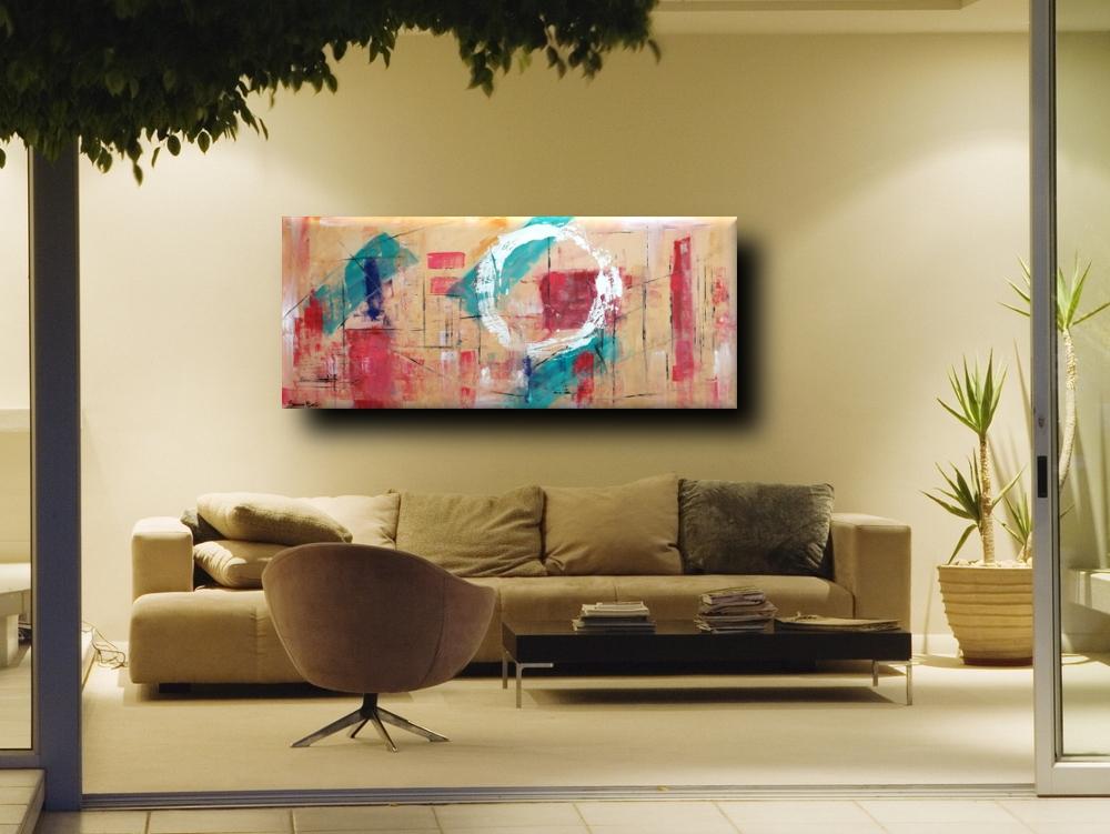Quadri astratti geometrici per soggiorno 150x65 sauro bos for Quadri verticali astratti