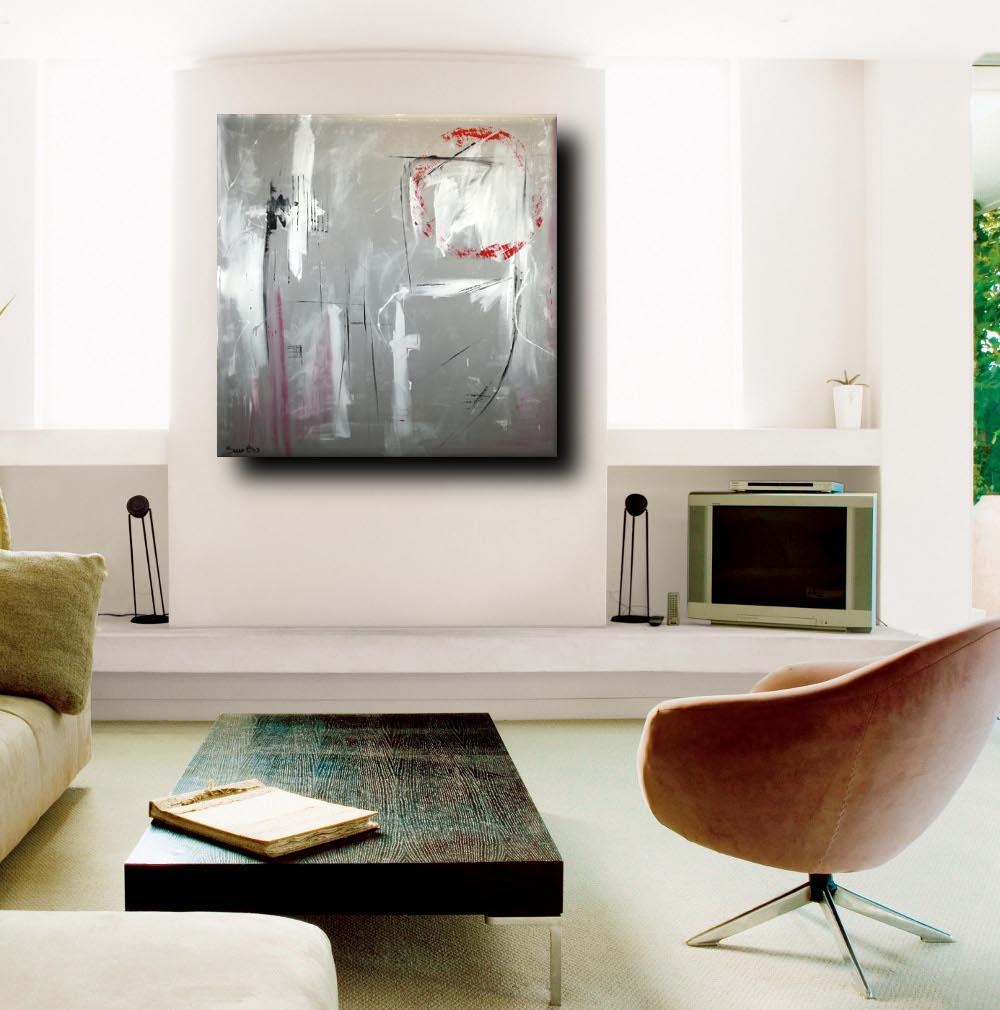 Quadri astratti dipinti a mano 120x120 grigio sauro bos for Quadri moderni salotto