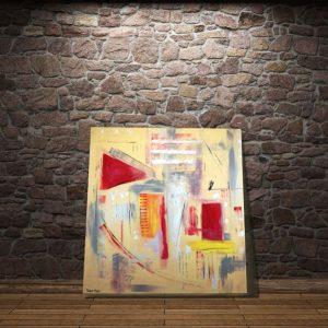 quadri geometrici astratti a23 300x300 - quadri astratti dipinti a mano 120x120 giallo