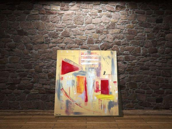 quadri geometrici astratti a23 600x450 - quadri astratti dipinti a mano 120x120 giallo