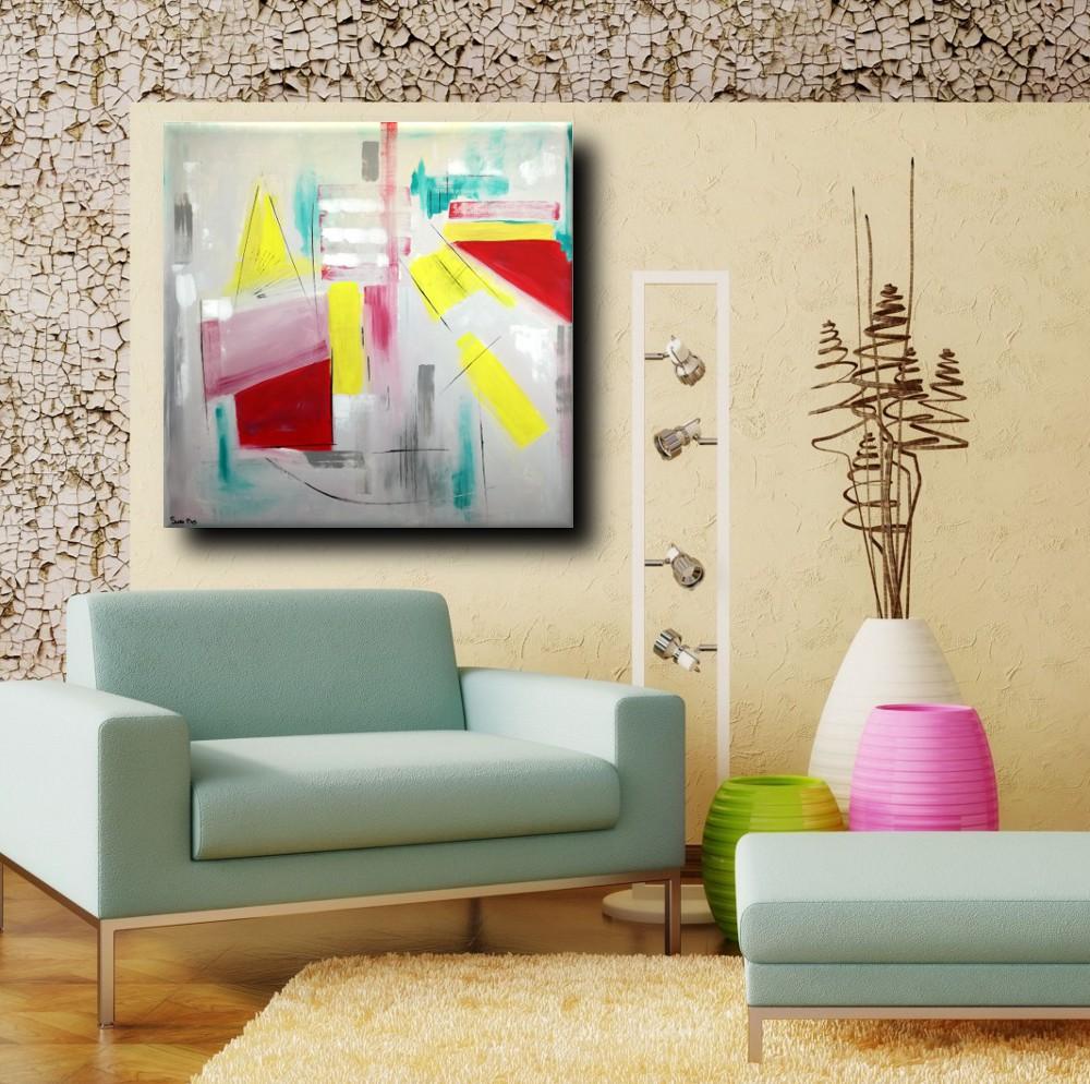Quadri astratti dipinti a mano 120x120 geometrico sauro bos - Ikea quadri su tela ...