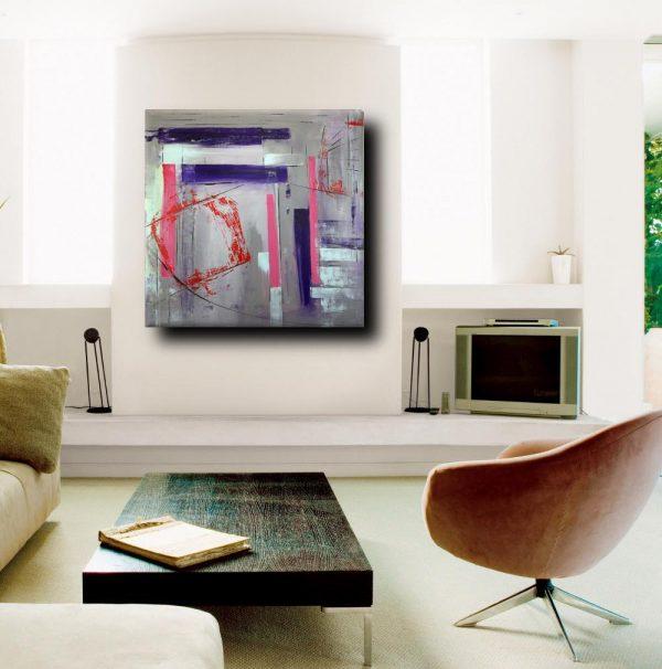 sogg quadri astratti a31 600x606 - quadri astratti dipinti a mano 100x100 geometrico