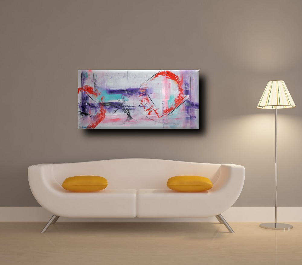 paesaggioastrattob7div - quadri moderni 120x60  per arredamento moderno