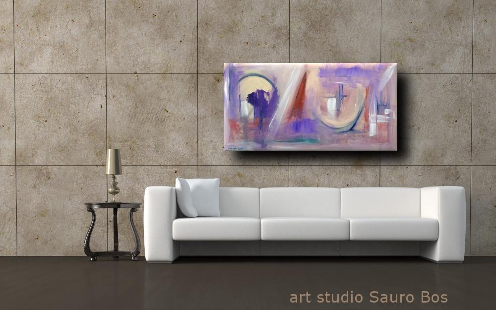 quadri moderni paesaggio astr b8 - quadri moderni ad olio colorati 120x60 per soggiono