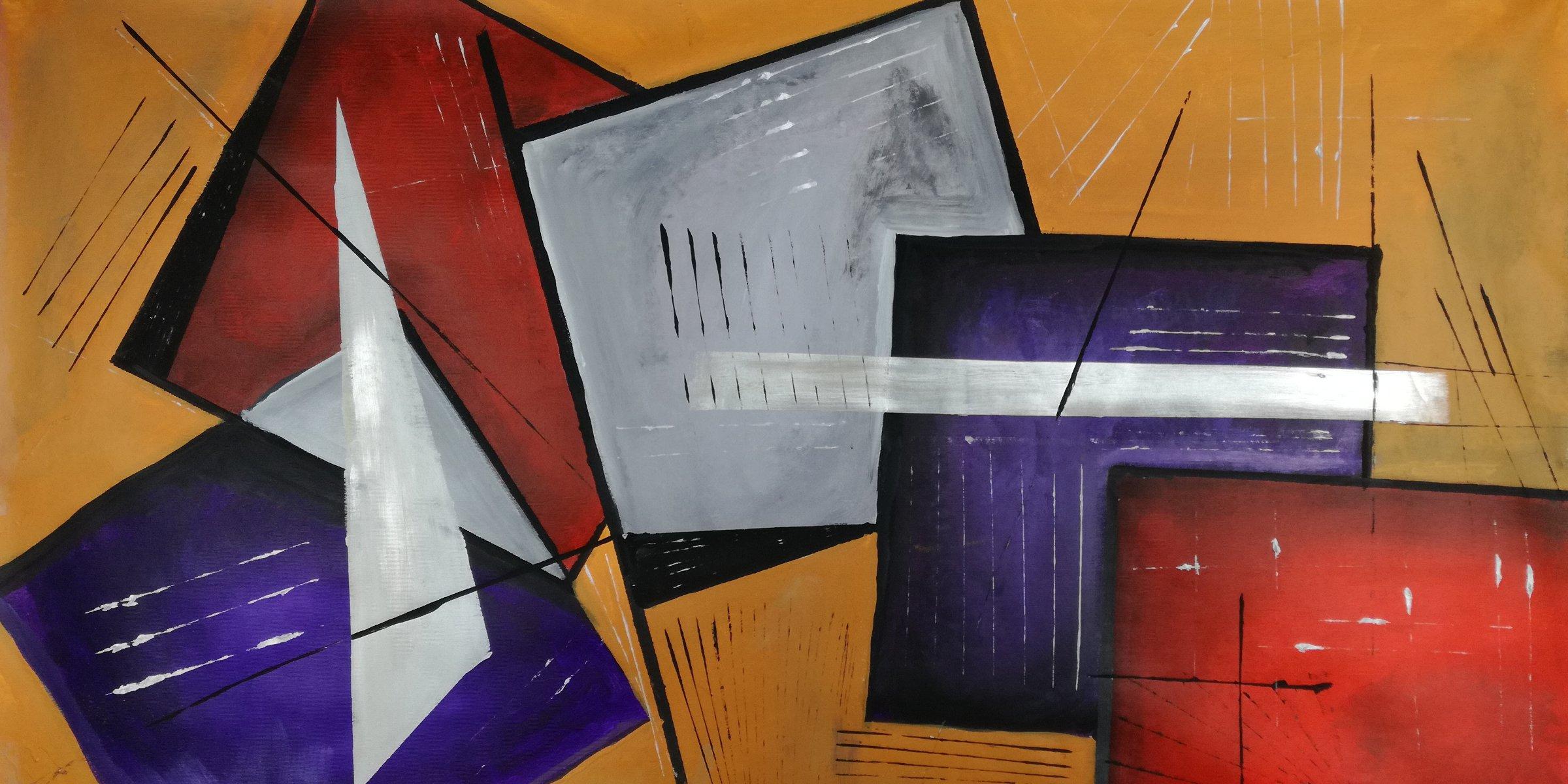 artfinder b25 - quadri moderni fatti a mano geometrici 120x60