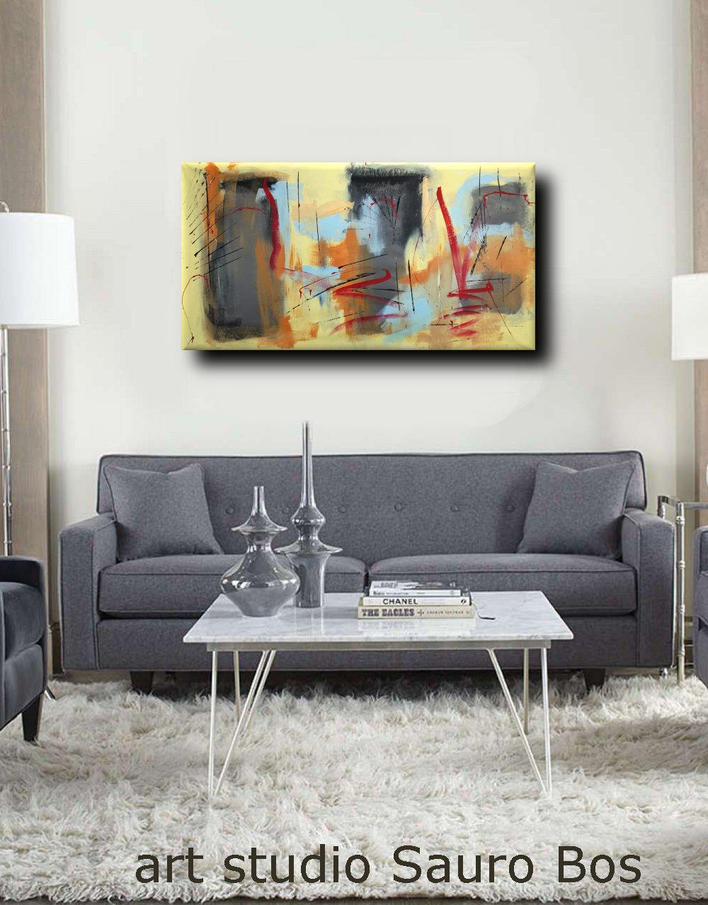 dipinti a mano astratti b41 - quadri moderni fatti a mano 120x60 xxl