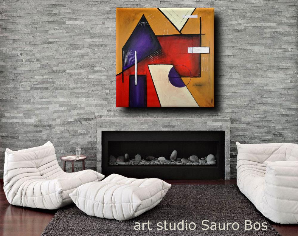 quadri astratti geometrici b22 - quadri moderni geometrici 120x120