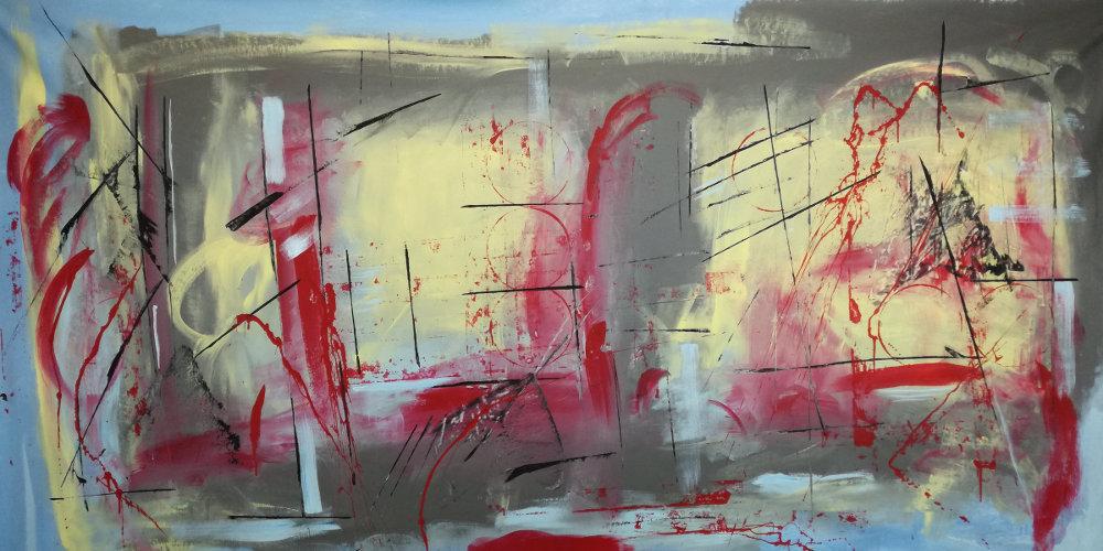quadri astratti moderni b36 - dipinti moderni giganti 180x90 per soggiorno