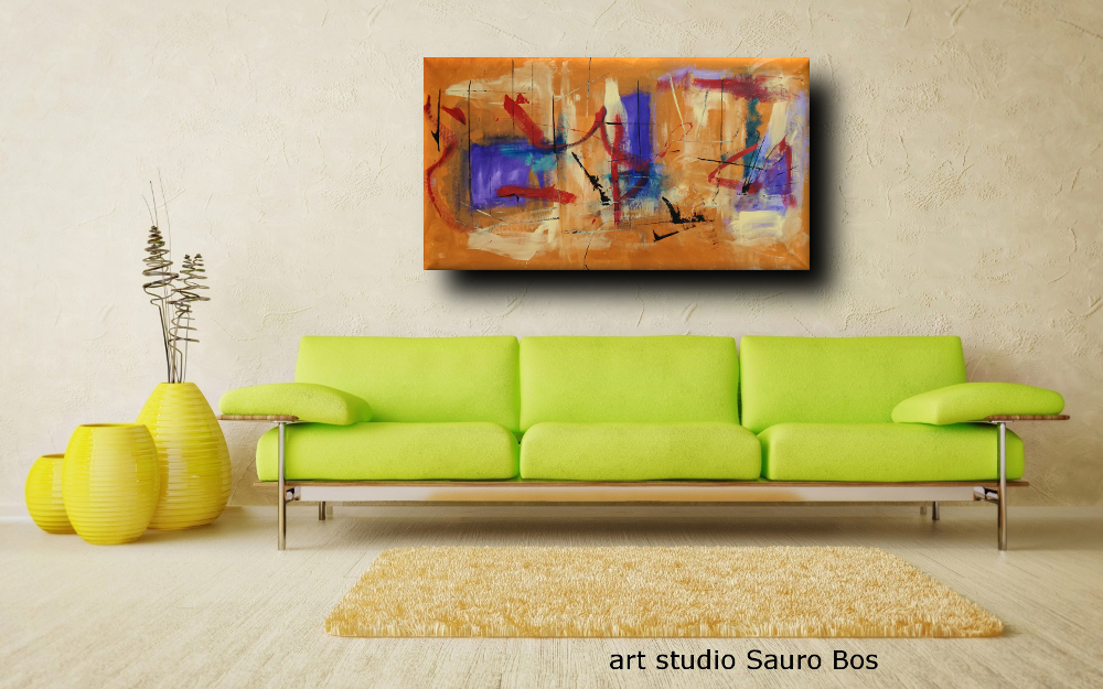 quadri astratti olio su tela b44 - quadri moderni fatti a mano 120x60 xxl