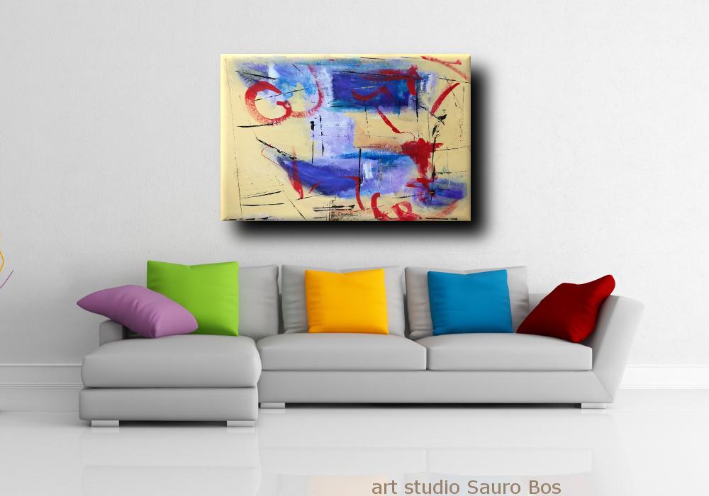 Dipinti astratti fatti a mano 120x80 xxl sauro bos for Quadri su tela astratti