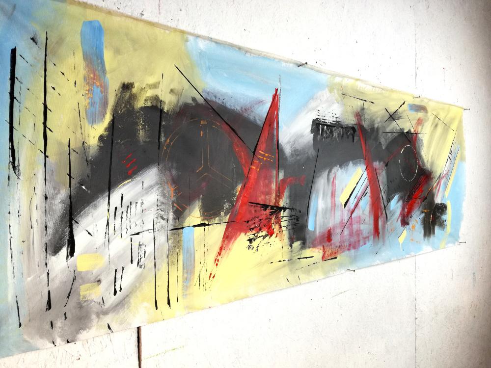 quadri astratti per arredamento moderno b48 - quadri moderni grandi dimensioni 180x50 olio su tela