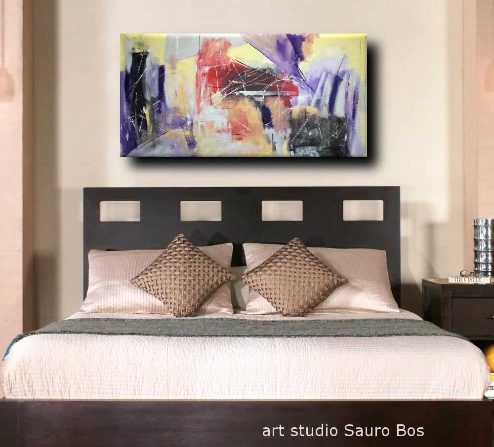 quadri astratti per camera da letto b33 - dipinti moderni grandi dimensioni 180x90 fatto a mano