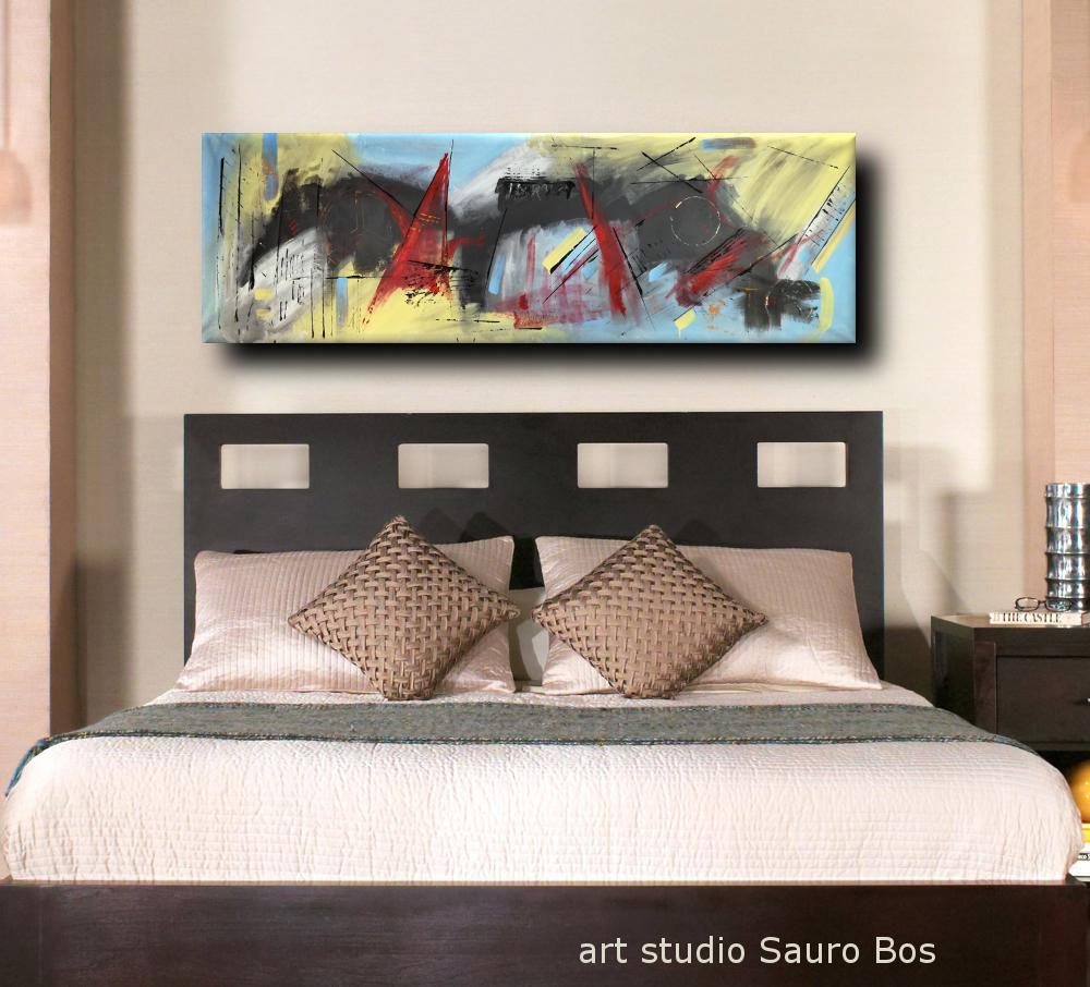 quadri astratti per camera da letto b48 - quadri moderni grandi dimensioni 180x50 olio su tela
