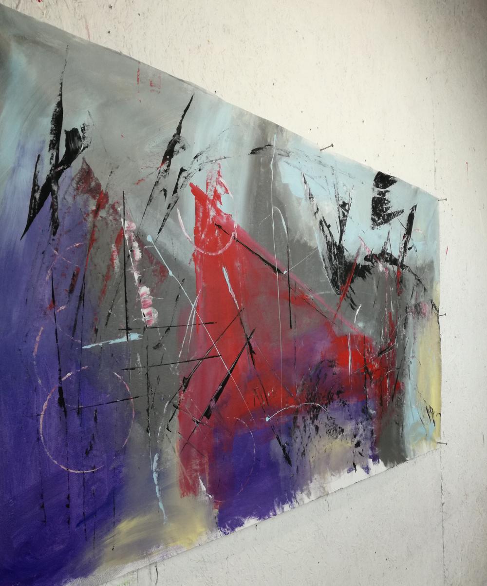 quadri astratti rosso nero b47 - quadri moderni fatti a mano 120x60 xxl