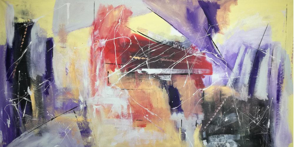 quadri astratti su tela b33 - dipinti moderni grandi dimensioni 180x90 fatto a mano