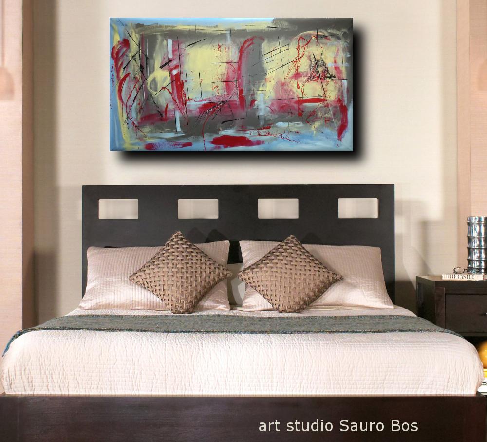 Dipinti moderni giganti 180x90 per soggiorno sauro bos - Quadri moderni per camere da letto ...
