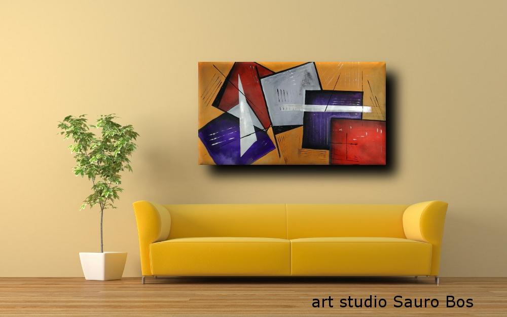 quadri moderbi geometrici olio su tela b25 - quadri moderni fatti a mano geometrici 120x60