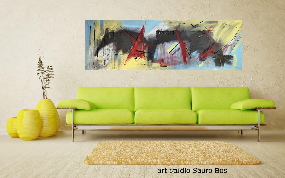 quadri moderni astratti b48 - quadri moderni grandi dimensioni 180x50 olio su tela