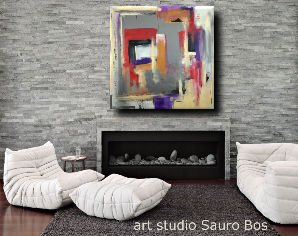 quadri moderni astratti geometrici b28 - quadri astratti geometrici 120x120 olio su tela
