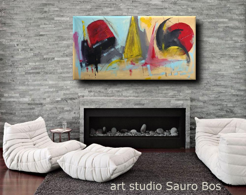 quadri moderni colorati b32 - dipinti moderni grandi dimensioni 180x90 fatto a mano