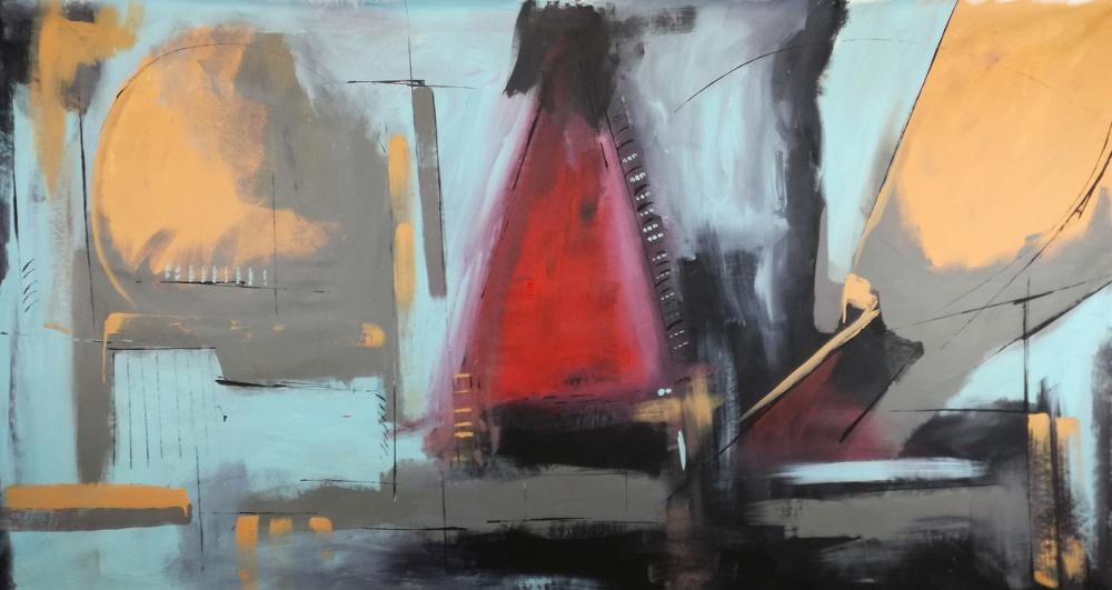 quadri moderni fatti a mano b31 - quadri moderni grandi dimensioni 180x90 olio su tela