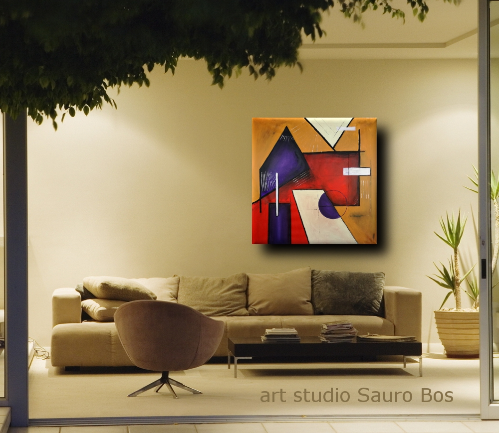 Quadri moderni geometrici 120x120 sauro bos for Quadri moderni minimalisti