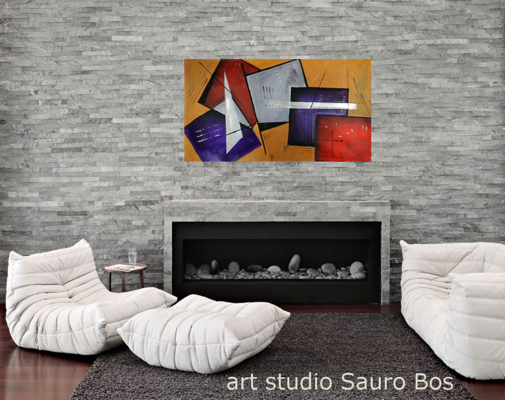 quadri moderni geometrici fatti a mano b25 - quadri moderni fatti a mano geometrici 120x60