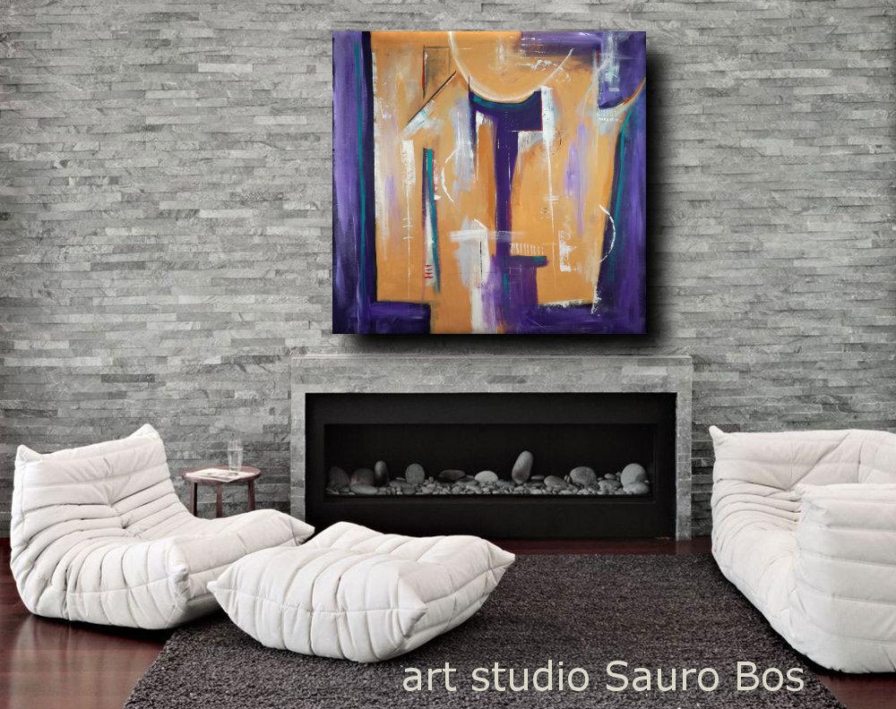 quadri moderni geometrici fatti a manob23 - quadri moderni geometrici 120x120 olio su tela