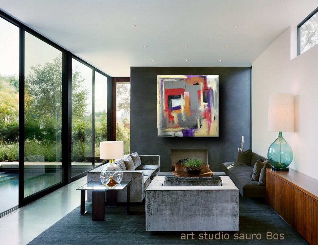 quadri moderni olio su tela b28 - quadri astratti geometrici 120x120 olio su tela