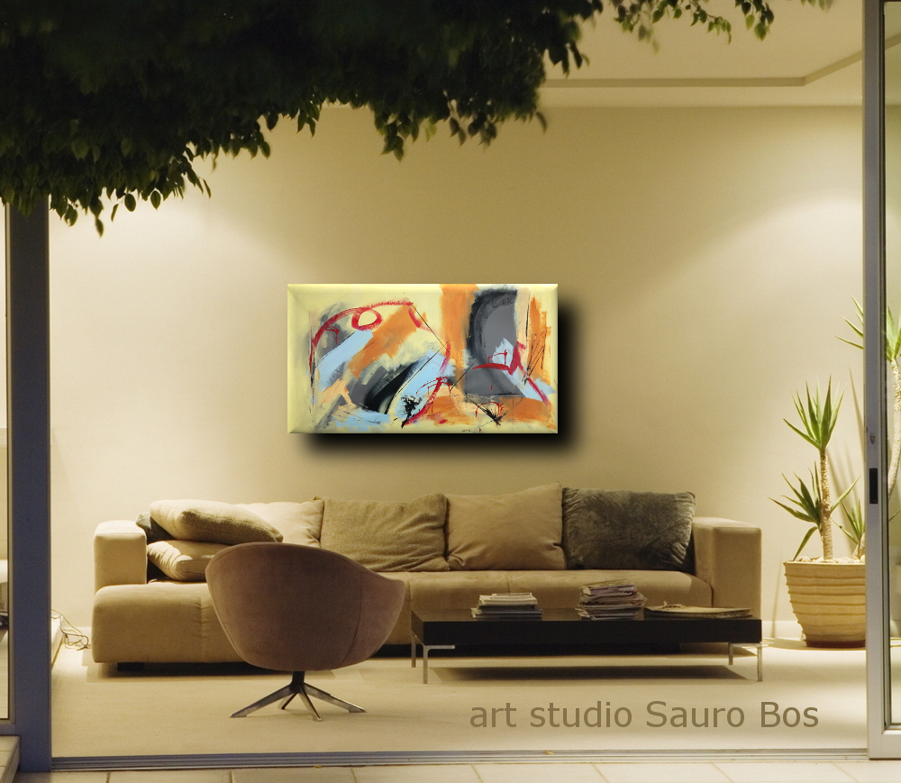 quadri per soggiorno astratti b40 - quadri astratti fatti a mano 120x60 xxl