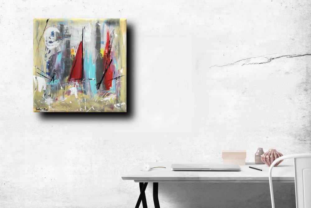 quadri moderni colorati b51 - quadri moderni  fatti a mano 60x60