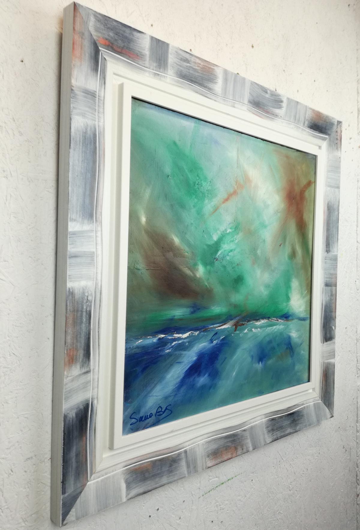 abstract landescape a3 dx - quadro  moderno con cornice olio su tela dipinto a mano