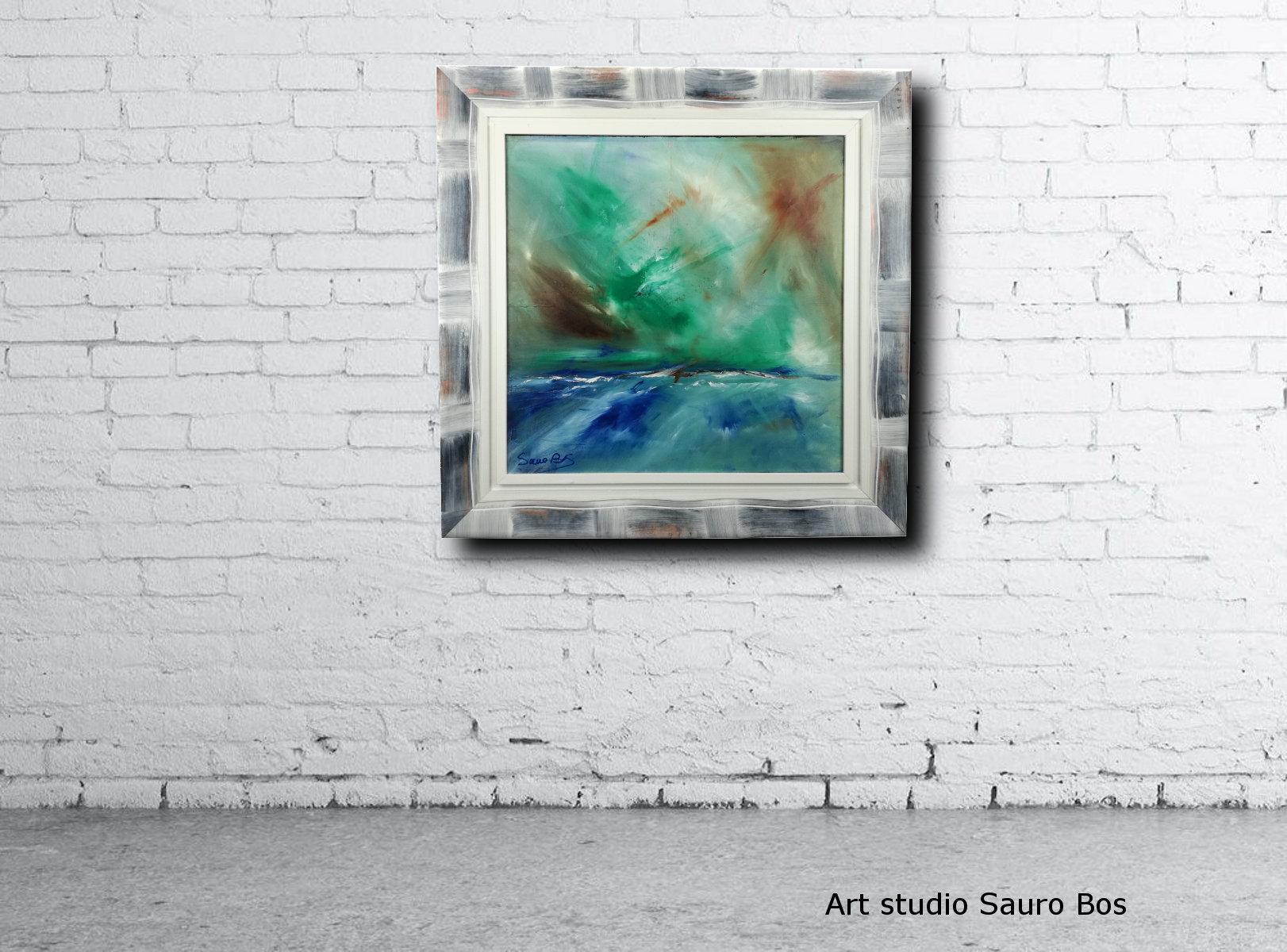 abstract landescape a3 muro - quadro  moderno con cornice olio su tela dipinto a mano