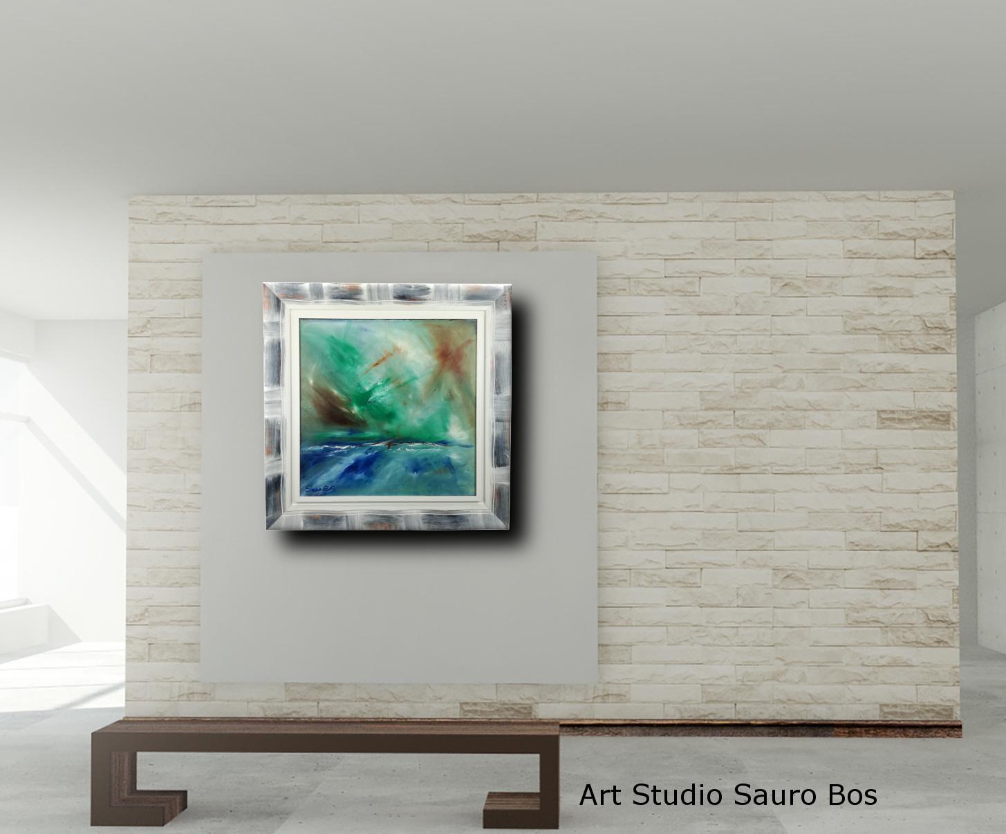 abstract landescape a3 sogg - quadro  moderno con cornice olio su tela dipinto a mano