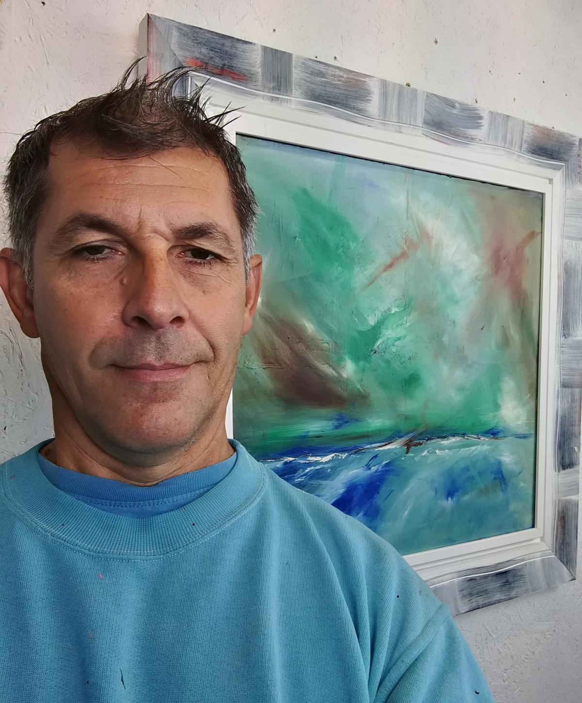 abstract landescape sauro studio a3. - quadro  moderno con cornice olio su tela dipinto a mano