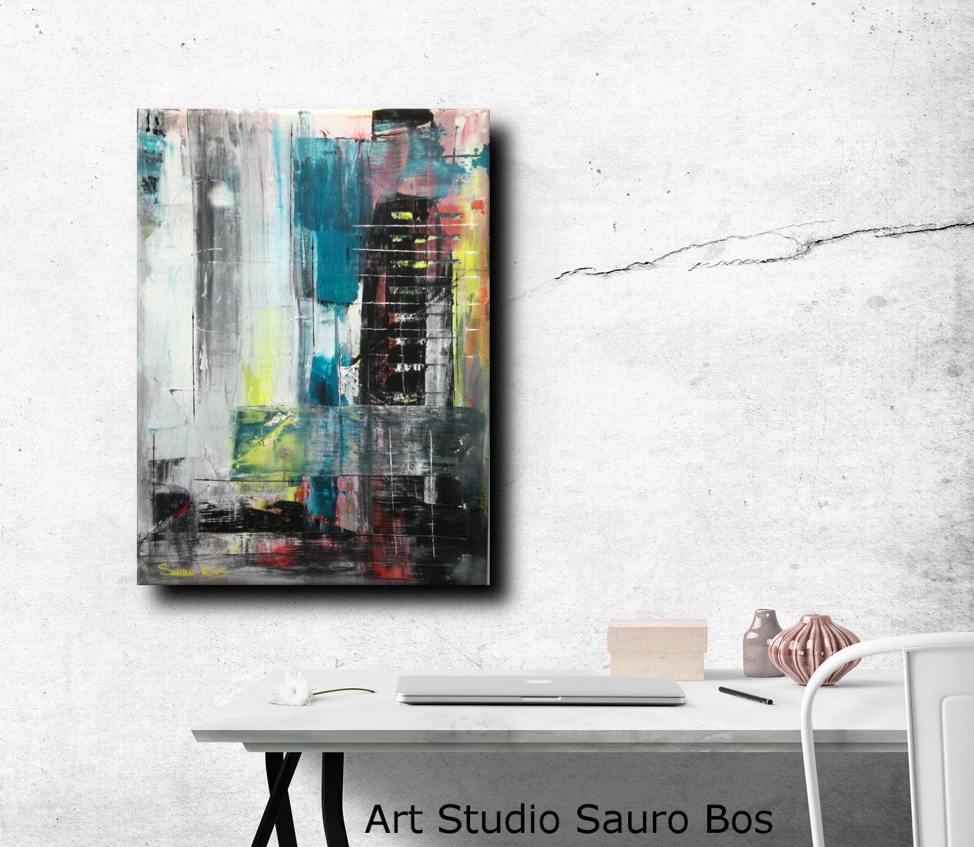 astratto c022mu - dipinti moderni  fatti a mano 80x60