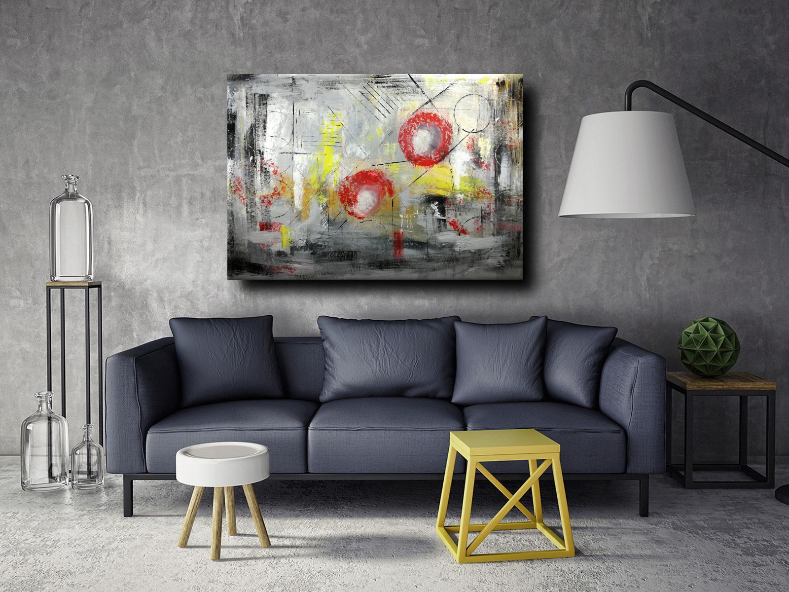 astratto moderno c007 - quadri astratti informali per soggiorno 150x100