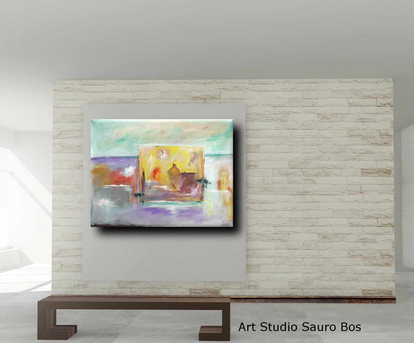 astratto moderno c018 - quadri moderni fatti a mano paesaggio-120x90 xxl c018