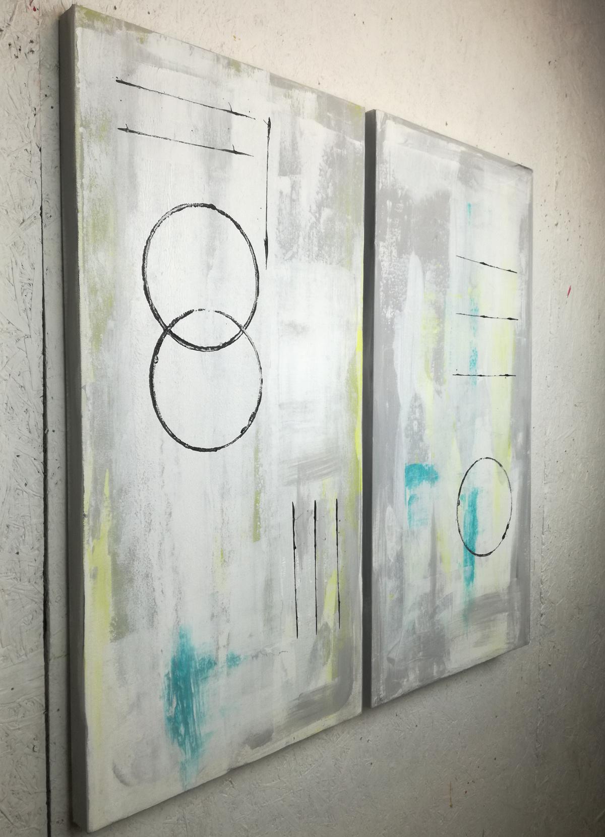 astratto moderno c020 - quadro astratto geometrico due tele 100x50x4 cm
