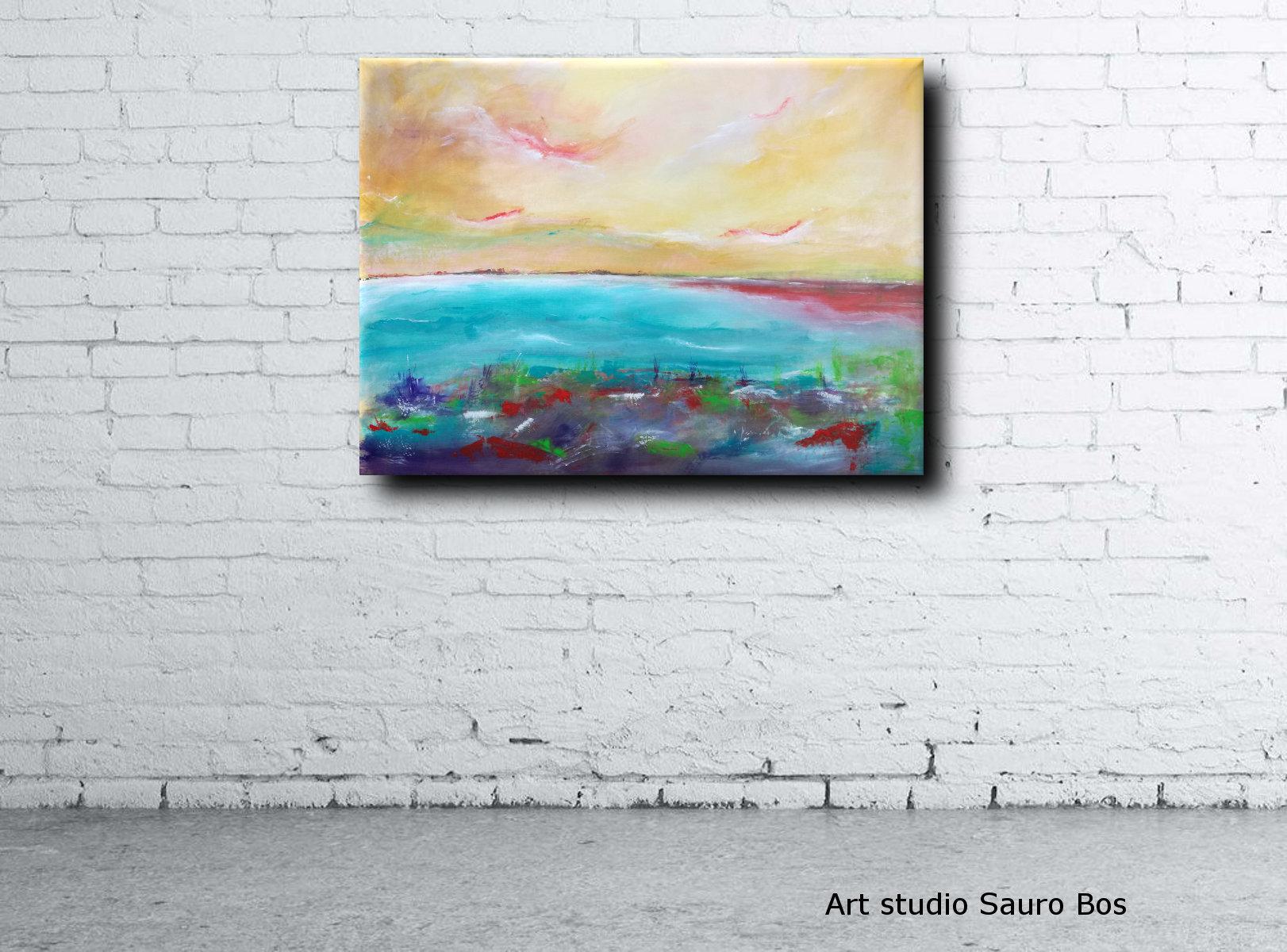muro paesaggio moiderno a2 - quadri moderni fatti a mano paesaggio-120x90 xxl