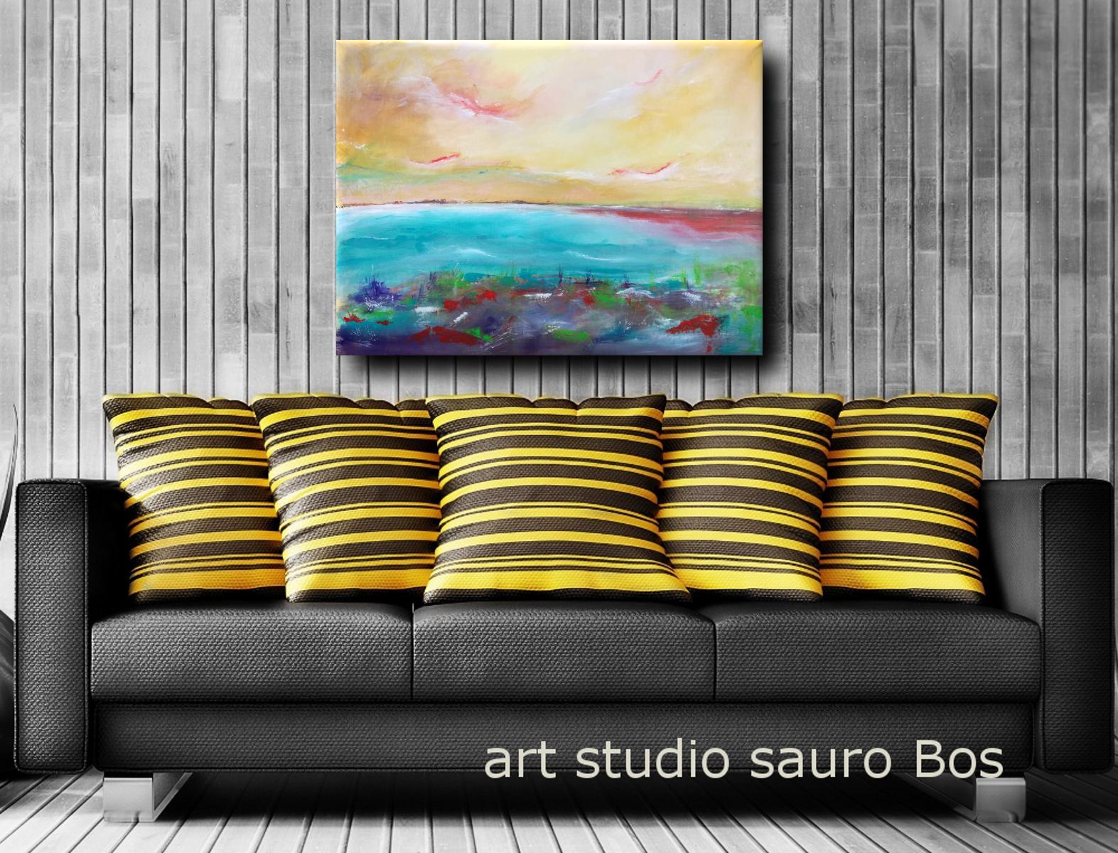paesaggio astratto a2 - quadri moderni fatti a mano paesaggio-120x90 xxl