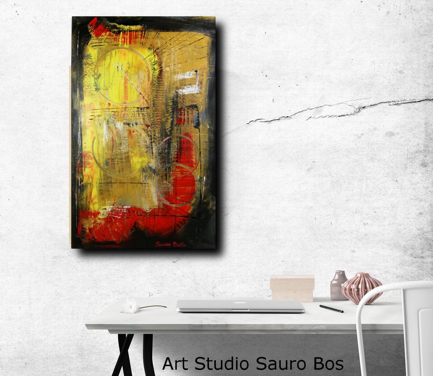 quadri astratti colorati c005 - dipinti moderni  fatti a mano 80x50