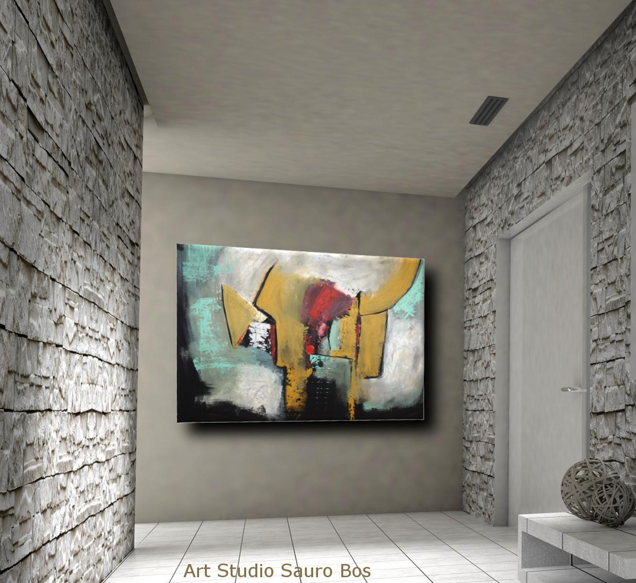quadri colorati astratti c011 - quadri astratti fatti a mano 120x90 xxl