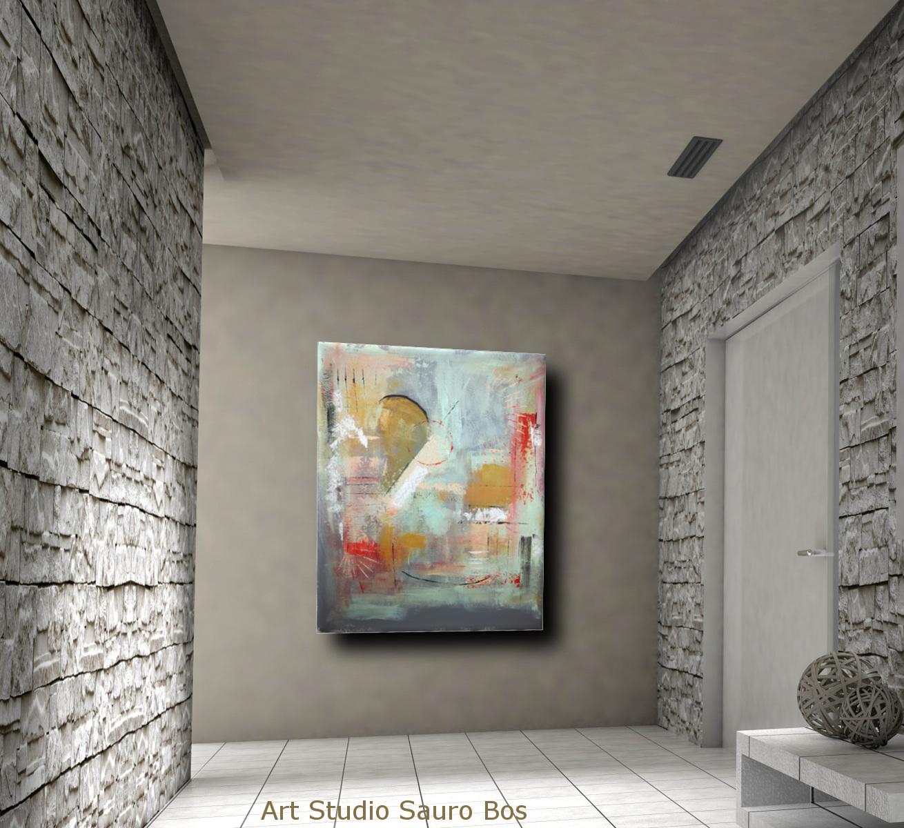 quadri moderni astratti c012 - quadri astratti fatti a mano chiari 120x90