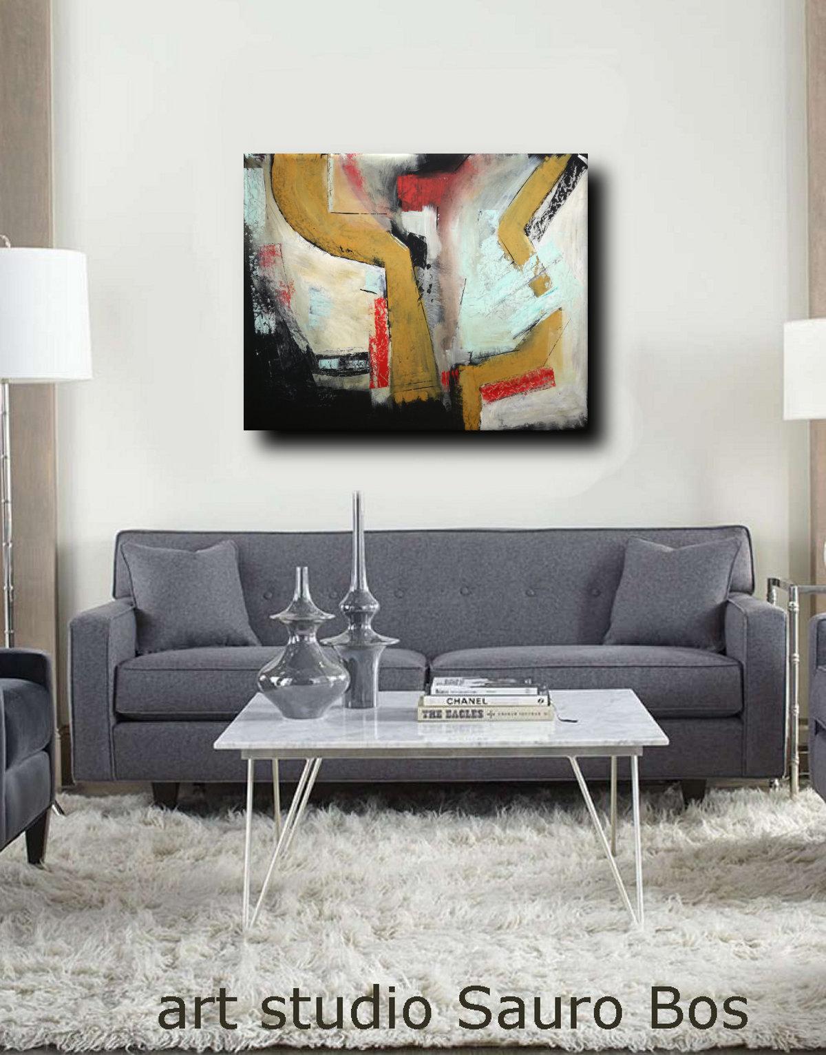 quadri moderni fatti a mano c010 - dipinti astratti fatti a mano 120x90 xxl