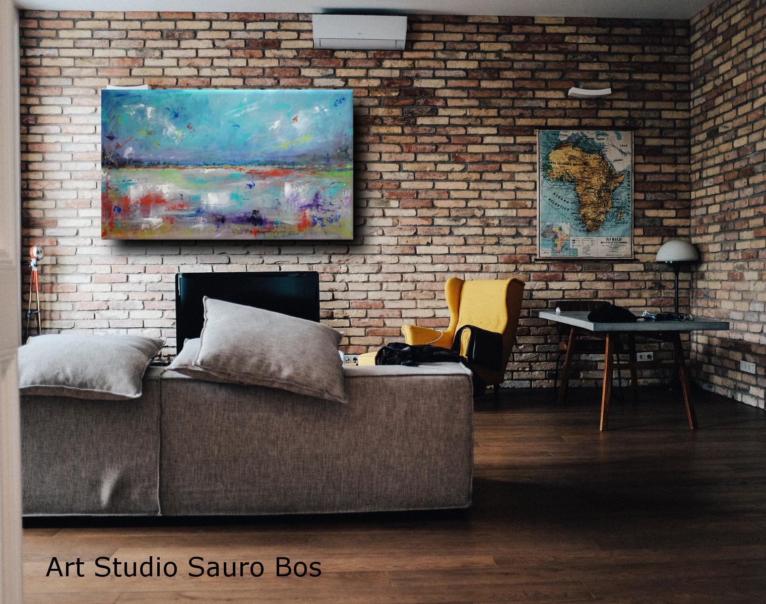 quadri moderni su tela c008 - dipinti astratti paesaggio120x60