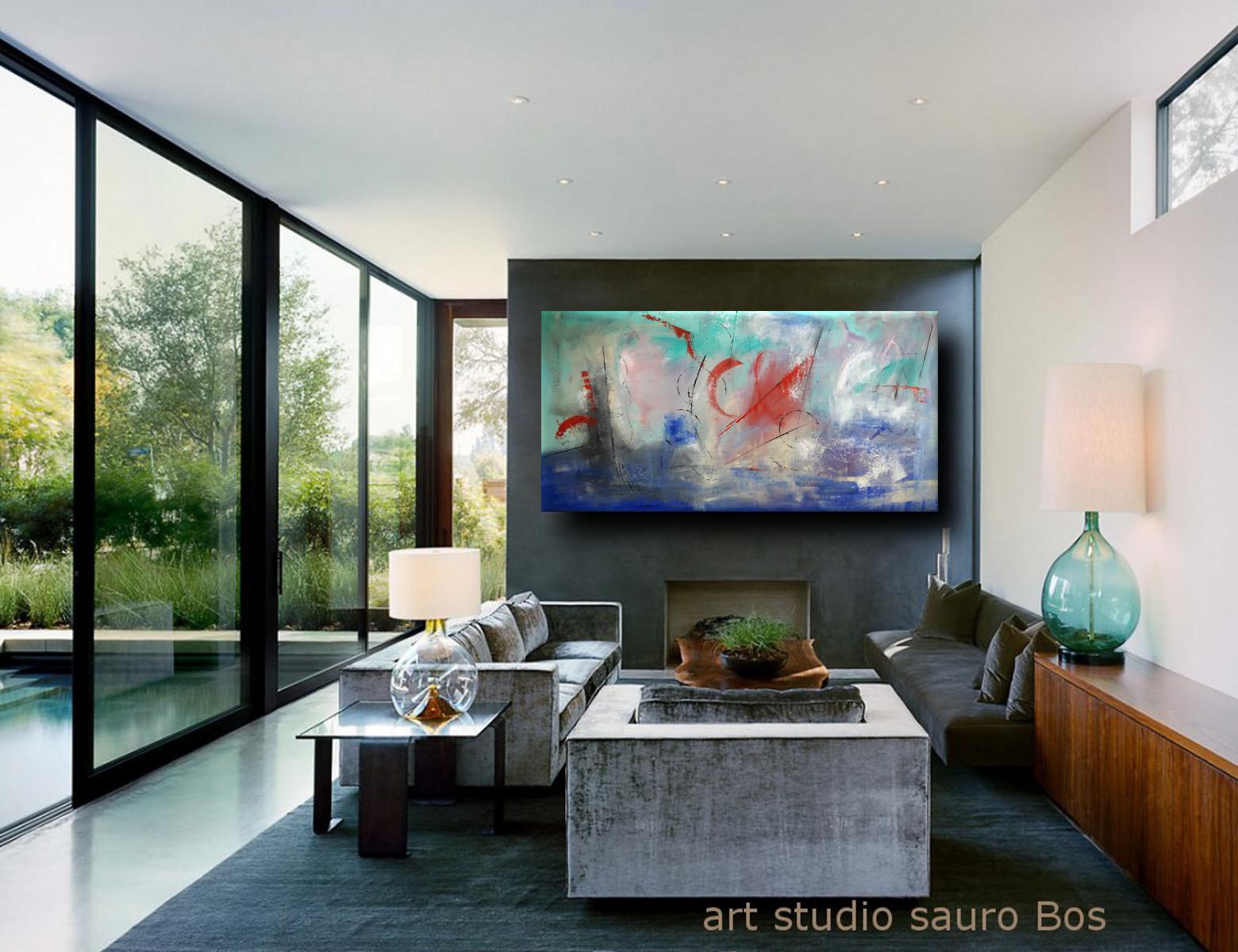 quadri moderni su tela offshore 2 - quadri astratti per arredamento moderno xxl -200x100