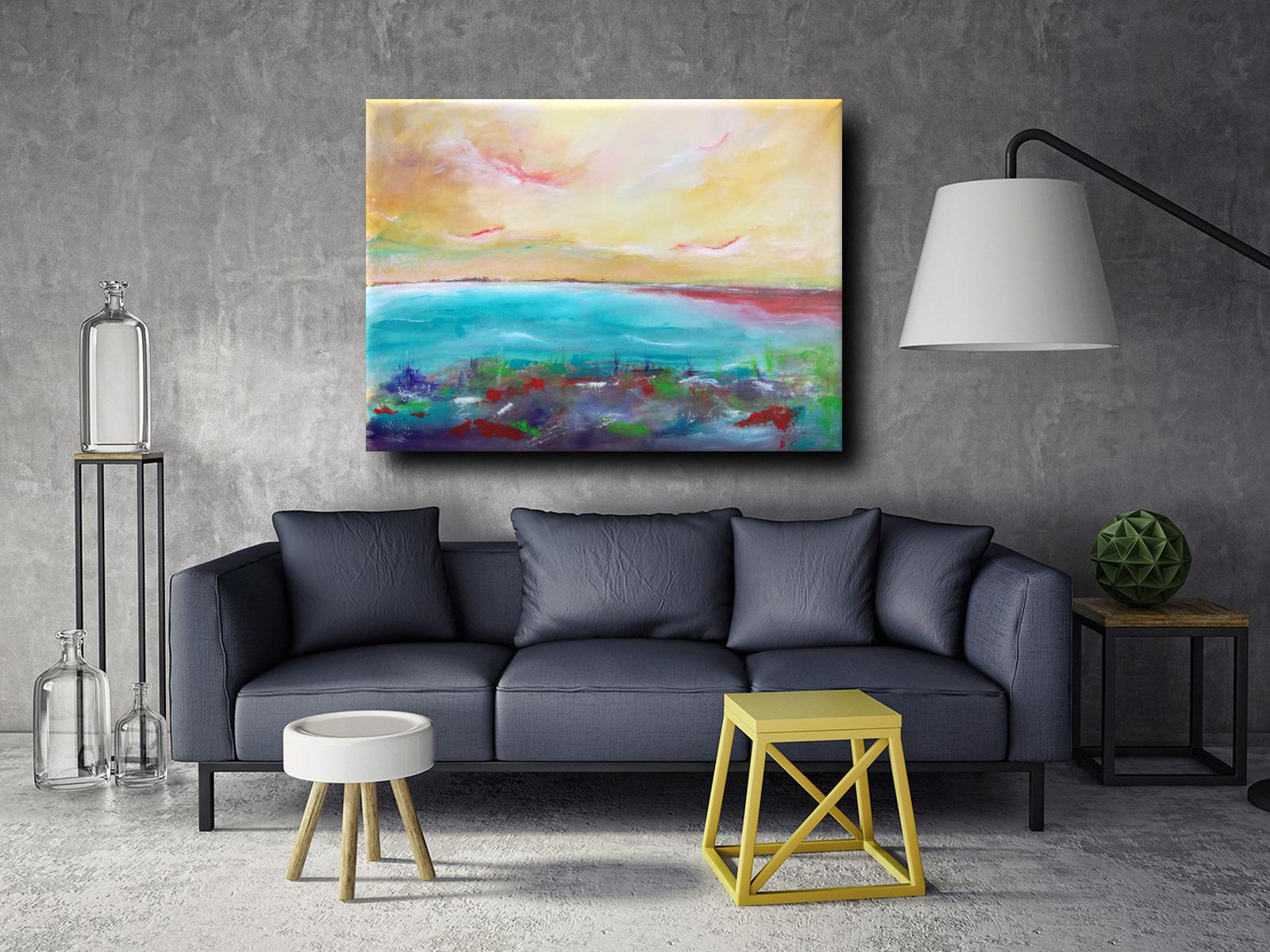 quadro astratto paesaggio a2 - quadri moderni fatti a mano paesaggio-120x90 xxl
