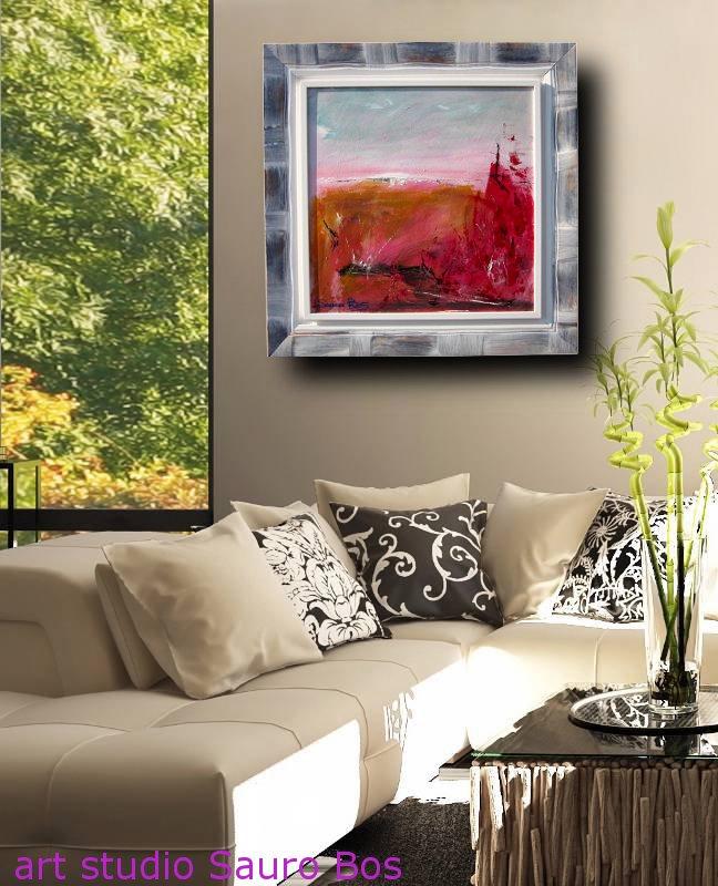 rosso relaATIVODIV - quadro  moderno con cornice olio su tela moderno